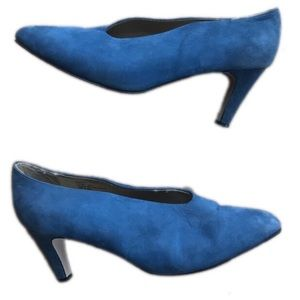 Bijou! Blue leather heels size 10